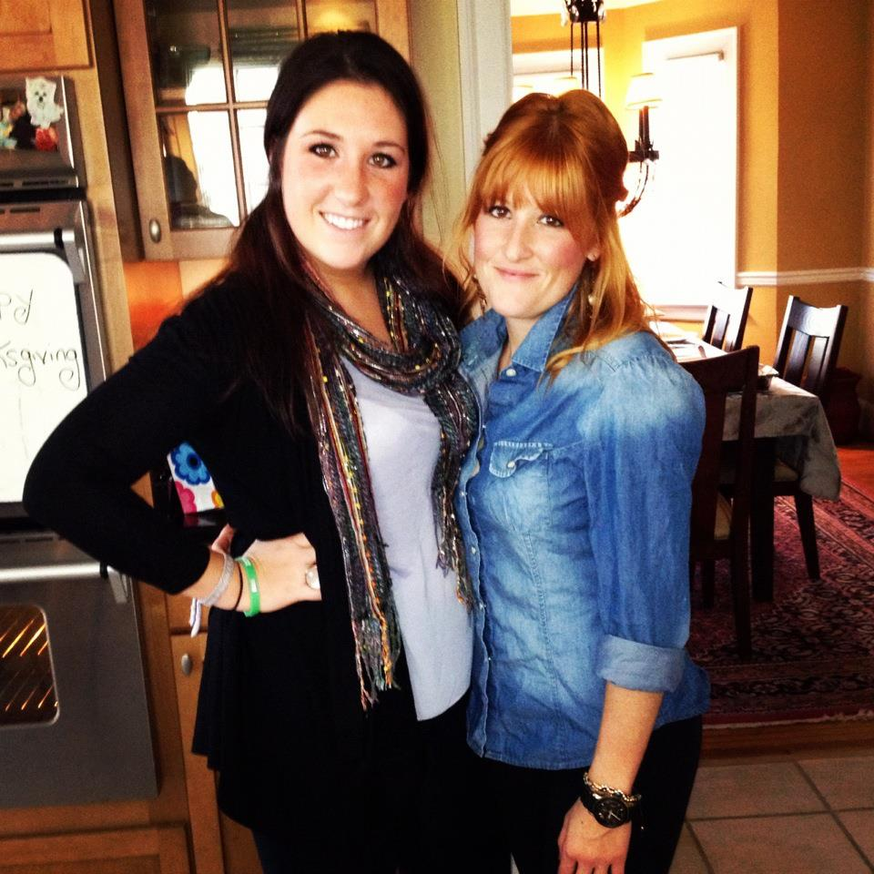 My sister and I on Thanksgiving! Finally you can see me without my running clothes on.